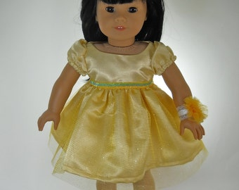 18 inch doll clothes,  Yellow Party Dress, 08-0426