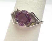 Sterling Silver Purple Asscher Cut Synthetic Stone Solitaire Ring February Birthstone 1950s