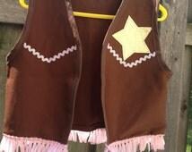 Sheriff Callie inspired vest/gold star, sparkly trim & pink scarf
