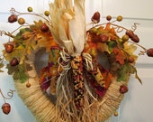 Fall Heart Wreath Indian Corn  Door Wreath Autumn Decor