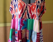 Sale was 58.00 - Harry and The Hippe Chic One Of A Kind Patchwork Tunic Top