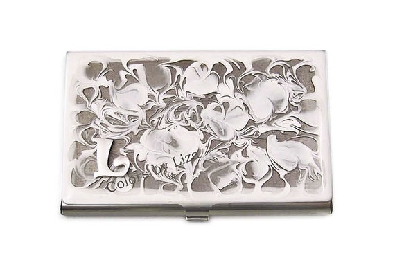 Business Card Case Hand in Painted Enamel Monogram White Metal Wallet Personalized and Custom Color Options
