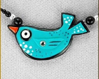 Hand Sculpted Blue Bird Folk Art Necklace by Kristy Zgoda