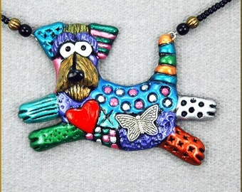 Hand Sculpted Airedale Necklace by Kristy Zgoda