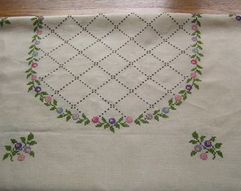 Linen Table Cloth with Hand Embroidered Flowers, Crocheted Edged, 56 x 34 inches, Elegant Tablecloth, Needle Art, Table Linen, Buffet Cover