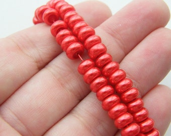 236 Red imitation pearl glass beads B178