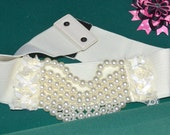 Cinch belt Wide elastic stretch corset belt, Ivory belt,wedding belt,beaded belt