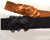 Chiffon Flower cinch belt Wide elastic stretch corset belt,black belt, brown belt,caramel belt