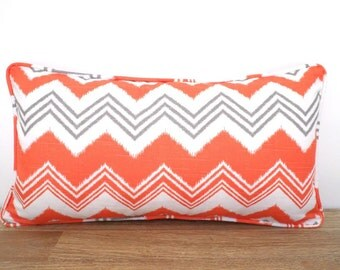Orange pillow cover 21x11, chevron pillow piping, geometric lumbar case dorm room , orange and grey cushion for sofas, small chair pillow