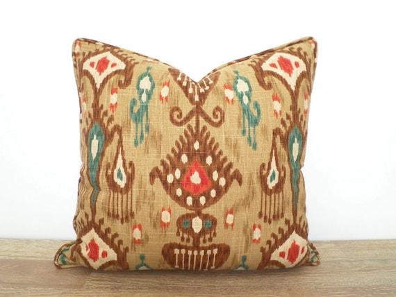 Brown Ikat Pillow Cover 20x20 Brown And Teal Throw Pillow