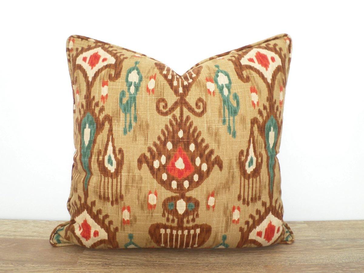 Decorative Pillows Brown : Brown ikat pillow cover 20x20 brown and teal throw pillow