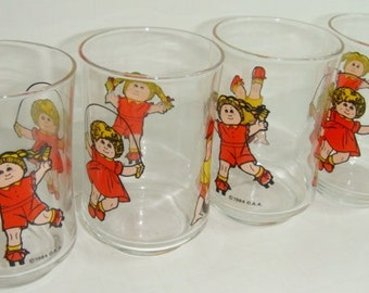 Cabbage Patch Glasses - Juice Glasses - Drinking Glasses - Set of 4