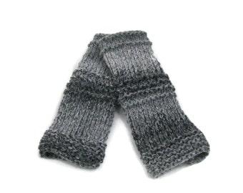 Fingerless Gloves, Knit Gloves, Hand Knit Gloves, Hand Warmers, Arm Warmers, Gray Gloves, Texting Gloves, Fingerless Mittens. Teen Gloves