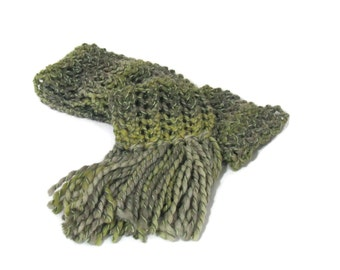 Green Scarf, Hand Knit Scarf, Knit Scarf, Bulky Scarf, Fashion Scarf, Winter Scarf, Fiber Art, Lacy Scarf, Gift Ideas, Fall Scarf,