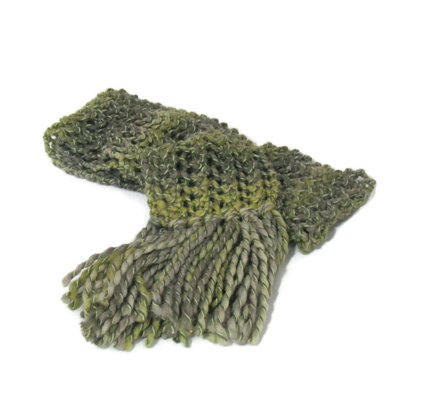 Green Scarf Hand Knit Scarf Knit Scarf Bulky by ArlenesBoutique
