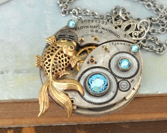 silver steampunk necklace, ZEN GARDEN, Antique year 1927 Elgin watch movement necklace with vintage Swarovski crystal and goldfish charm