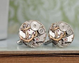 steampunk cufflinks, round anchor cuff links, watch movement cuffs, JOURNEY, vintage jeweled watch movement, anchor cuff links,