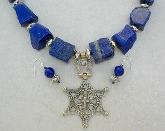 Old Ethiopian Pendant, Cross on Byzantine Coptic Cross on Star of David, Chunky Lapis Beads, Ethnic Statement Necklace Set by SandraDesigns
