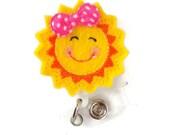 Susie Sunshine - Retractable ID Badge Reel - Teacher Badge Holder - Cute Badge Reel - Nurse Badge Holder - Nursing Badge - Felt Badge
