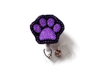Paw Print Purple - Nurse Badge Holder - Vet Badge Reel - Retractable Badge Reel - Teacher Badge - Dog Badge Reel - Veterinarian Badge