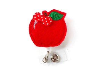 Red Apple - Retractable ID Badge Reel - Name Badge Holder - Teacher Badge Reel - Teacher Badge Holder - Nursing Badge - Felt Badge