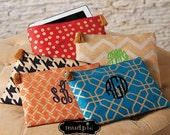 Monogram Shimmer Jute Clutch - Mudpie Shimmer Juco - Wet Bikini Bag - Jute Carry-All Case - Fits most Tablets too!