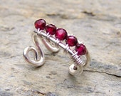 January Birthstone Ear Cuff Wire Wrapped Faceted Red Garnet Jewelry Sterling Silver Ear Cuffs