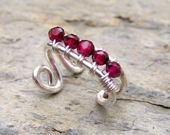 January Birthstone Ear Wrap Faceted Red Garnet Jewelry Wire Wrapped Bohemiann Ear Cuff Sterling Silver Ear Cuffs