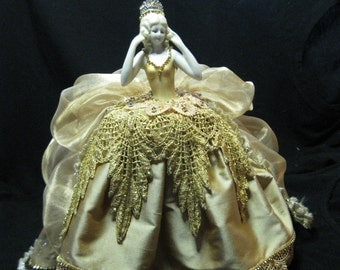 Porcelain Half Doll Boudoir Doll Pincushion Doll Dresser doll All done in Sparkles and GOLD!