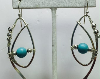 Hand Forged Sterling Dangles w/Turquoise Accents