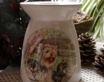Yorkie Mom & Pups on a Garden Bench Ceramic Tea Light Tart Burner