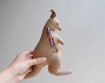 Vintage Kangaroo Toy, Handmade Kangaroo Soft Sculpture Animal, Stuffed Animal