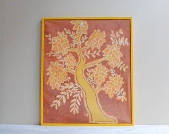 Vintage Batik Painting in a Yellow Wood Frame
