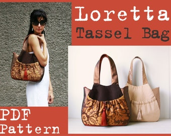 PDF Sewing Pattern to make Tassel Bag Loretta INSTANT DOWNLOAD hobo purse handbag