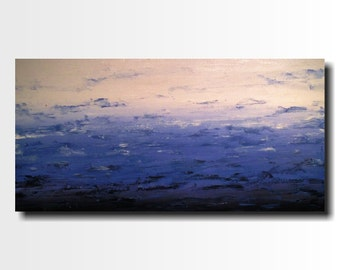 Original Large Abstract painting - 24 X 48 FREE US Shipping JMJartstudio- Retreat -Wall art-wall decor -  Denim Blue painting-Oil painting
