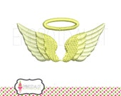Angel wings embroidery design. Dainty Angel embroidery in 3 mini sizes! Pretty Angel wing machine embroidery in filled stitch.