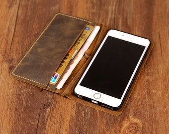 Distressed Vintage Brown real Leather iPhone 5s Case / iPhone 5s wallet / iPhone 5s phone Wallet Case - I5S005W