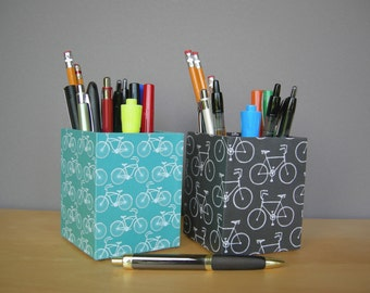 Bike Covered Square Pencil Cup, Desk Accessories, Dorm Acessories, Back To School