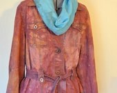 Brown 12/14 Large Denim Jacket - Orange Brown Hand Dyed Upcycled Faded Glory Cotton Trench BarnJacket - Adult Womens Large (46 chest)