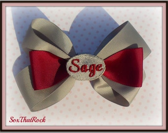 Bespoke Personalized Hair Bow for girls - your child's name in center - you pick all custom colors and clip type