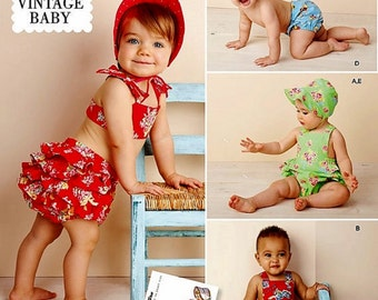 Vintage Baby Romper Pattern, Toddlers' Sunsuit Pattern, Infant Diaper Cover, Baby Bonnet, Sz Nb to 18 mo, Simplicity Sewing Pattern 1600