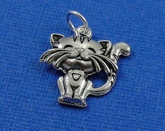Cute Happy Cat Charm - Silver Cat Charm for Necklace or Bracelet