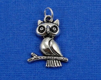 Owl on Branch Charm - Silver Plated Owl Charm for Necklace or Bracelet