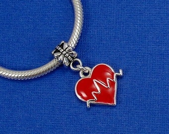 Heartbeat Pulse European Dangle Bead Charm - Silver and Red Heartbeat Charm for European Bracelet