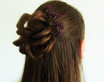 Burgundy Pearl Florettes - Set of 6 Bobby Pins