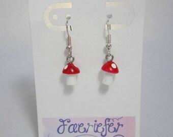 Toadstool earrings faerie costume jewellery gift