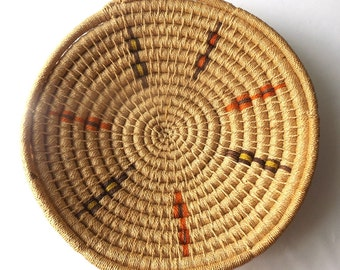 vintage 1960's large round bowl basket tight weave handwoven mid century retro rustic boho bohemian decorative home decor brown grass reeds