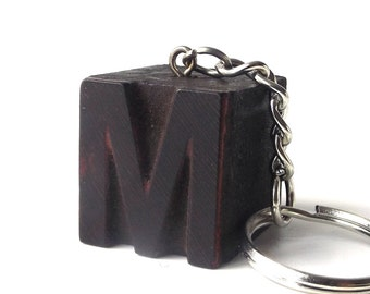 letterpress keychain vintage 1920's letter M wood stamp printers block old antique retro printing patina small mini miniature authentic aged