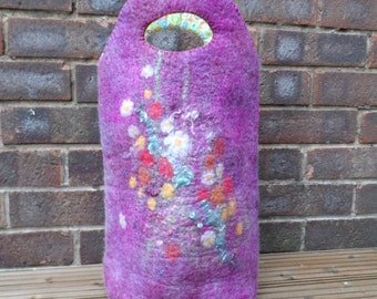 Felted Tote Bag - Late Summer Flowers