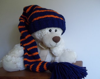 Long Adult, Kids Stocking Cap, Navy and Orange Stocking Cap, Tassel or PomPom Color Option